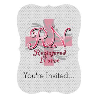 Enfermera registradoa del RN, remolinos rosados de Invitación 12,7 X 17,8 Cm