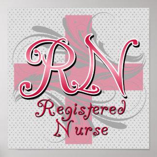 Enfermera registradoa remolinos rosados de la cru poster