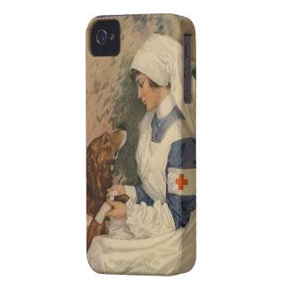 Enfermera retra de la guerra del vintage con el iPhone 4 cárcasa