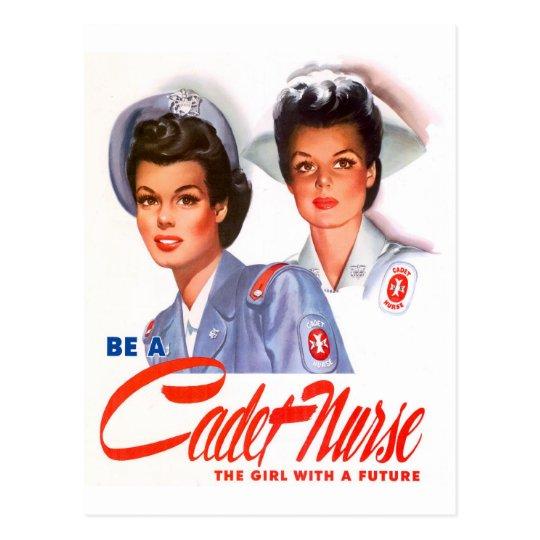 Enfermera retra del cadete del kitsch WW2 del Postal