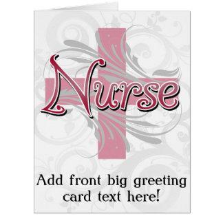 Enfermera rosada de la cruz/del remolino tarjeta de felicitación grande