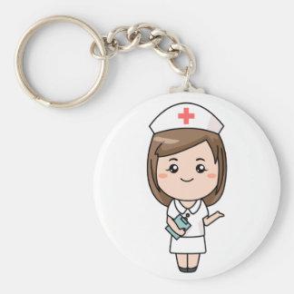 Enfermera tradicional llavero redondo tipo chapa