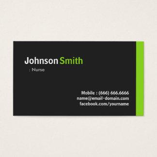 Enfermera - verde minimalista moderno tarjeta de negocios