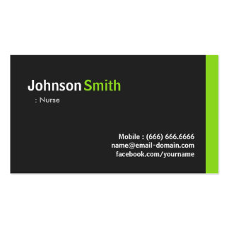 Enfermera - verde minimalista moderno tarjetas de visita