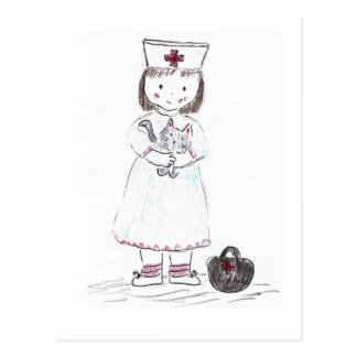 Enfermera y gatito postal