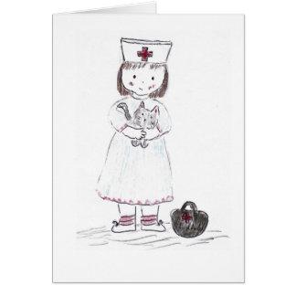 Enfermera y gatito tarjeta de felicitación
