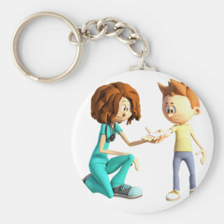 Enfermera y Little Boy del dibujo animado Llavero Redondo Tipo Chapa