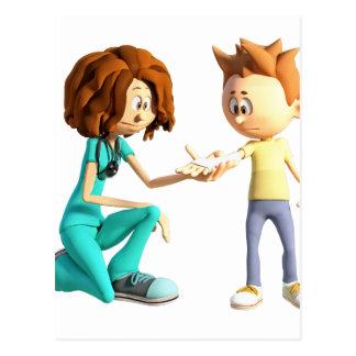 Enfermera y Little Boy del dibujo animado Postal