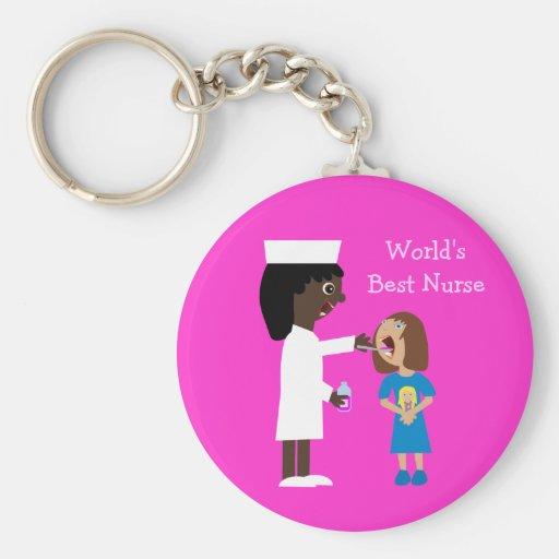 Enfermera y niño lindos del dibujo animado de la m llaveros personalizados