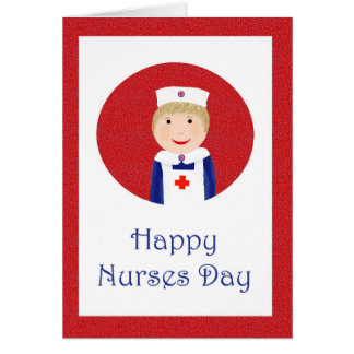 Enfermeras felices día, enfermera con el delantal tarjeta de felicitación