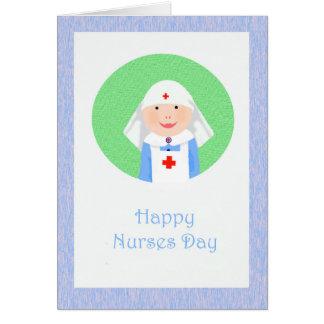 Enfermeras felices día, enfermera con velo y Cruz Tarjeta De Felicitación