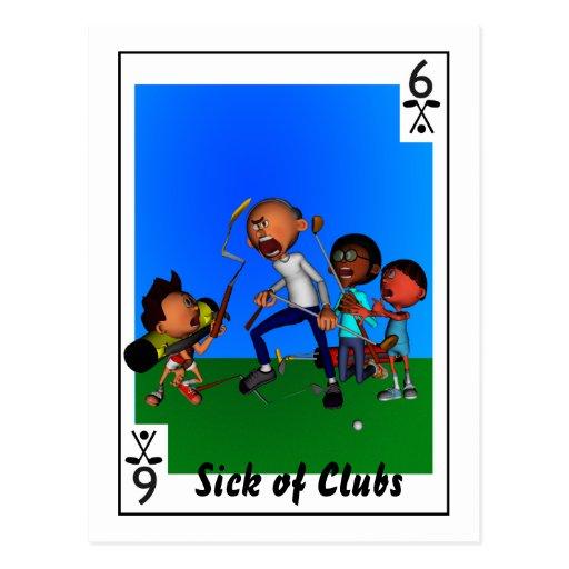 Enfermo de clubs tarjeta postal