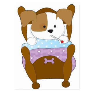 Enfermo lindo del perrito postales
