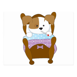 Enfermo lindo del perrito tarjetas postales