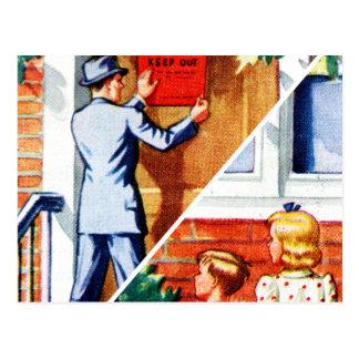 Enfermo retro del sarampión del libro de niños del postal