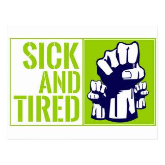 Enfermo y cansado postal