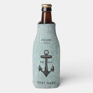 Enfriador De Botellas Capitán negro del barco del marinero del ancla del