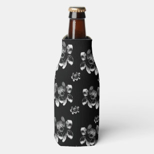Enfriador De Botellas Flores blancos en negro,