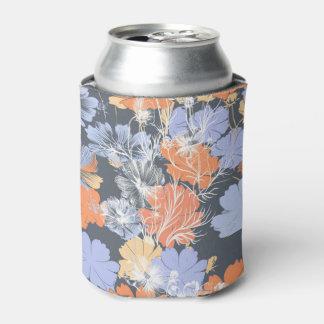 Enfriador De Latas Estampado de flores anaranjado violeta gris del