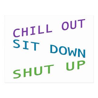 Enfríe hacia fuera, siéntese, y cierre 3 postal