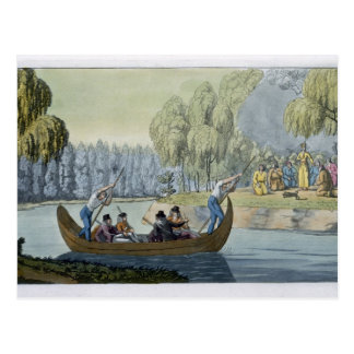 Engaño de capitán Wallis de la reina Oberea, placa Postal
