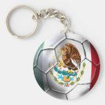 Engranaje de la bandera mexicana del balón de fútb llaveros personalizados