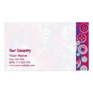 Engranajes metálicos coloridos tarjetas de visita