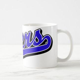 Engrasadores en azul taza de café