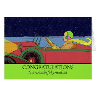 Enhorabuena a la abuela en su nuevo coche, retro tarjeta de felicitación