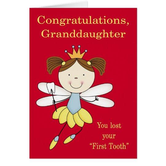 Enhorabuena a la nieta, primer diente perdido tarjeta de felicitación