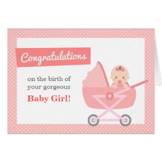 Enhorabuena a los nuevos padres en niña tarjeta de felicitación