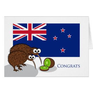 Enhorabuena a los nuevos padres, pájaros del kiwi tarjeta de felicitación