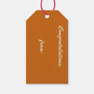 Enhorabuena anaranjada quemada rústica (escritura etiquetas para regalos