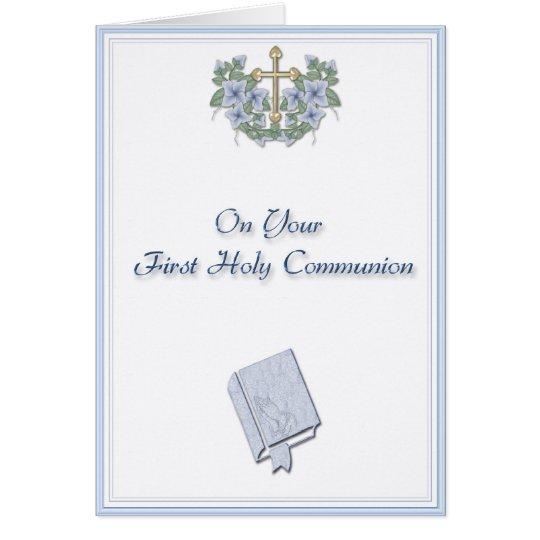 Enhorabuena azul de la comunión tarjeta de felicitación