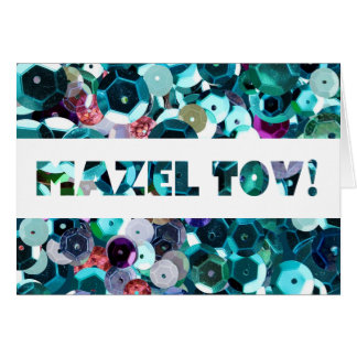 Enhorabuena azul de Mazel Tov de las lentejuelas Tarjeta De Felicitación