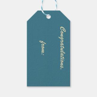 Enhorabuena azul del trullo (escritura del oro) etiquetas para regalos