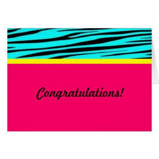 Enhorabuena azul rosada del estampado de zebra tarjeta de felicitación
