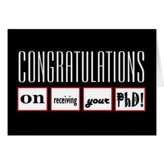 Enhorabuena CONOCIDA DE ENCARGO del grado del PhD Tarjeta De Felicitación