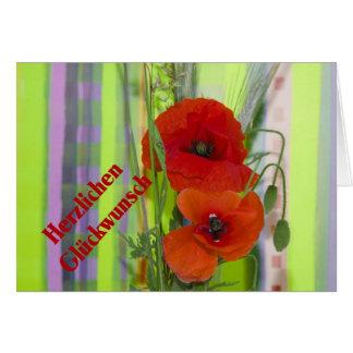 Enhorabuena cordial amapola tarjeta de felicitación