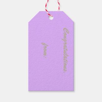 Enhorabuena de color de malva (escritura del oro) etiquetas para regalos