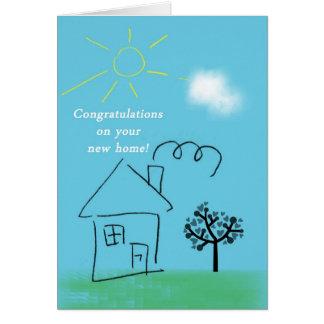 Enhorabuena de la casa del Doodle en nuevo hogar Tarjeta De Felicitación