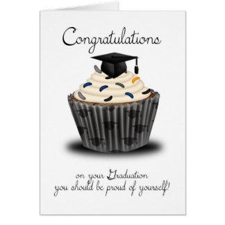 Enhorabuena de la graduación de la magdalena tarjeta