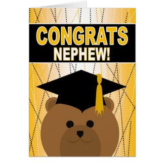 Enhorabuena de la graduación del sobrino tarjeta de felicitación