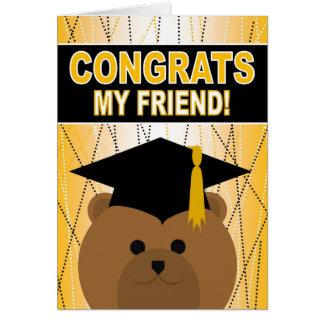 Enhorabuena de la graduación para el amigo tarjeta de felicitación