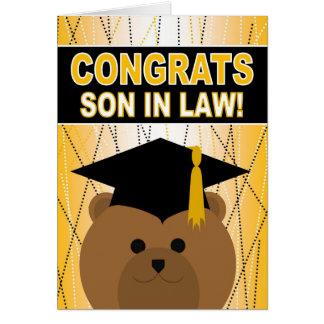 Enhorabuena de la graduación para el yerno tarjeta de felicitación