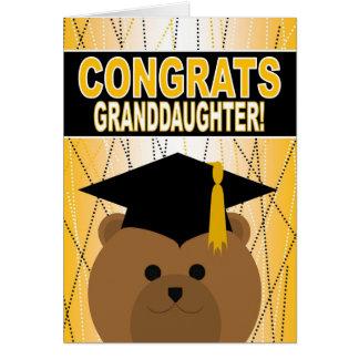 Enhorabuena de la graduación para la nieta tarjeta de felicitación