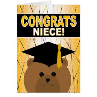 Enhorabuena de la graduación para la sobrina tarjeta de felicitación