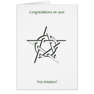 Enhorabuena de la iniciación del pentáculo de tarjeta de felicitación