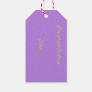 Enhorabuena de la lavanda (escritura del oro) etiquetas para regalos