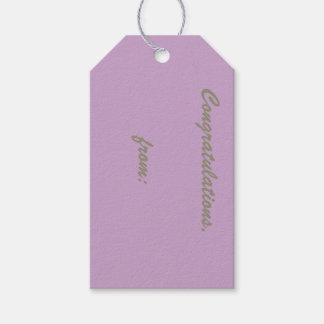 Enhorabuena de la lila (escritura del oro) etiquetas para regalos